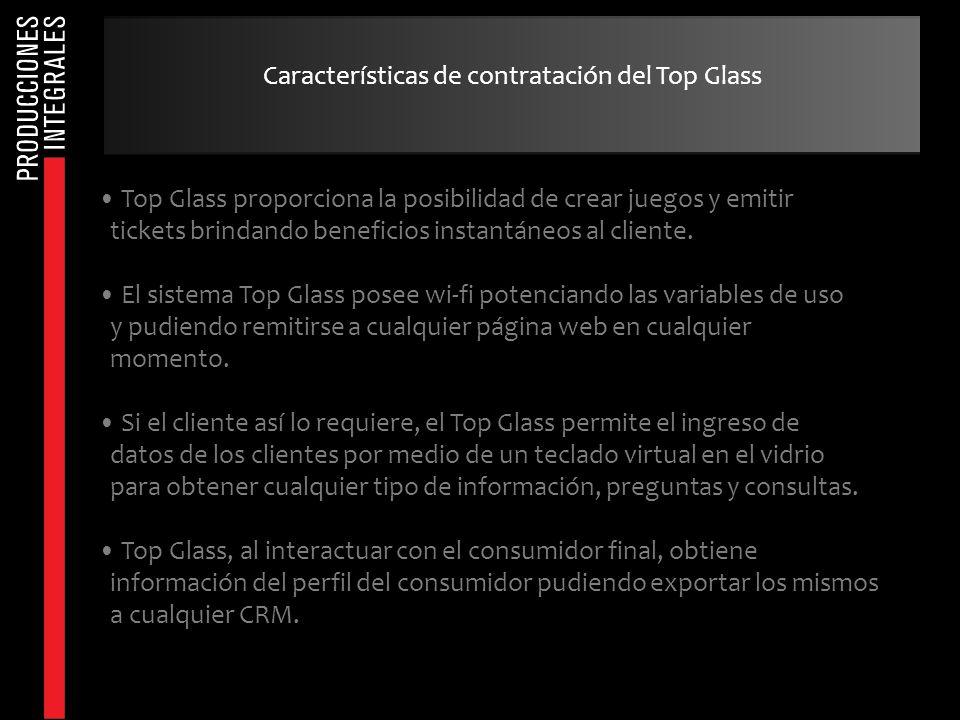 Top Glass proporciona la posibilidad de crear juegos y emitir tickets brindando beneficios instantáneos al cliente. El sistema Top Glass posee wi-fi p