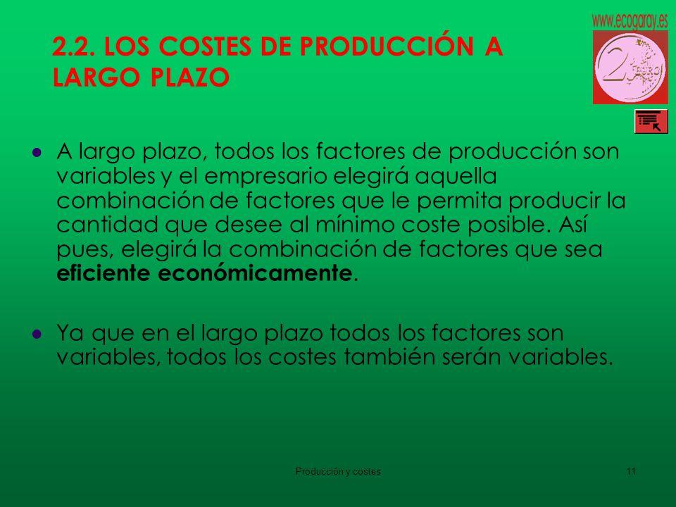 Producción y costes11 2.2. LOS COSTES DE PRODUCCIÓN A LARGO PLAZO A largo plazo, todos los factores de producción son variables y el empresario elegir