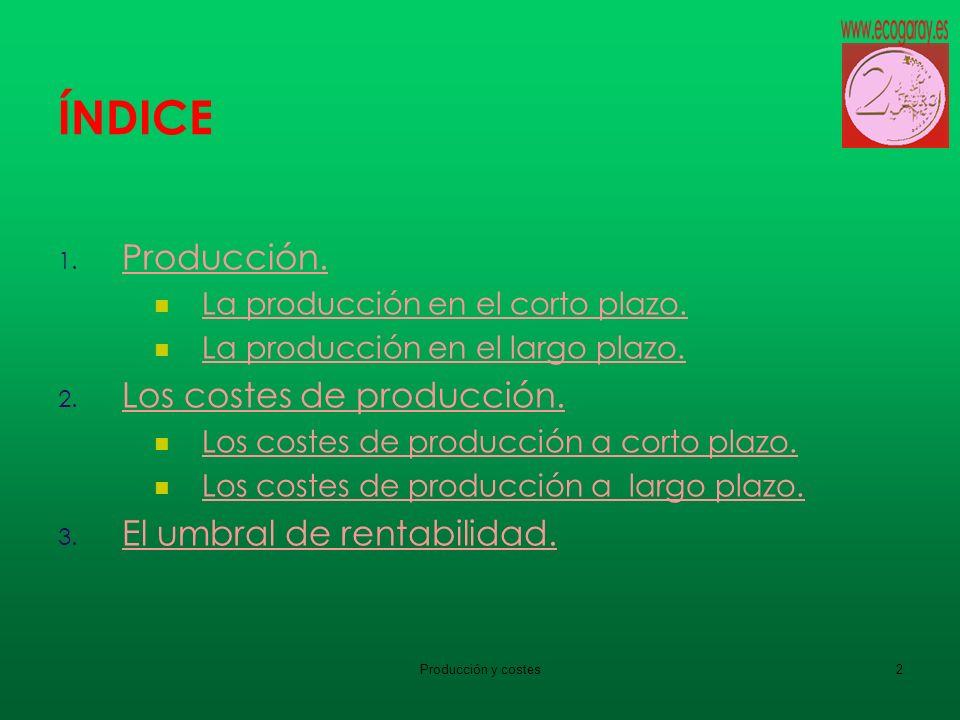 Producción y costes2 ÍNDICE 1. Producción. Producción. La producción en el corto plazo. La producción en el largo plazo. 2. Los costes de producción.