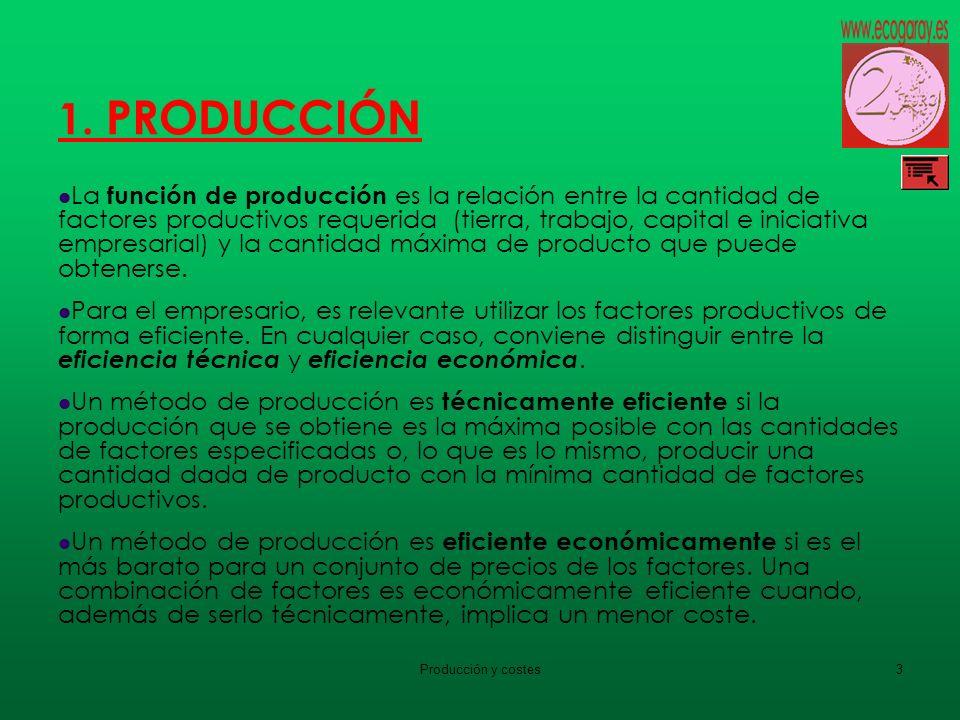 Producción y costes3 1. PRODUCCIÓN La función de producción es la relación entre la cantidad de factores productivos requerida (tierra, trabajo, capit