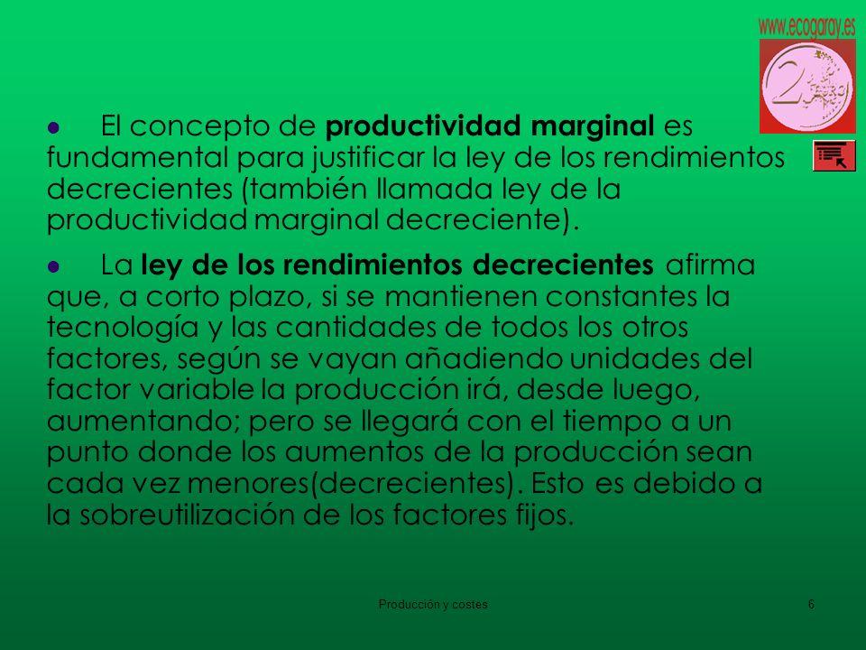 Producción y costes6 El concepto de productividad marginal es fundamental para justificar la ley de los rendimientos decrecientes (también llamada ley