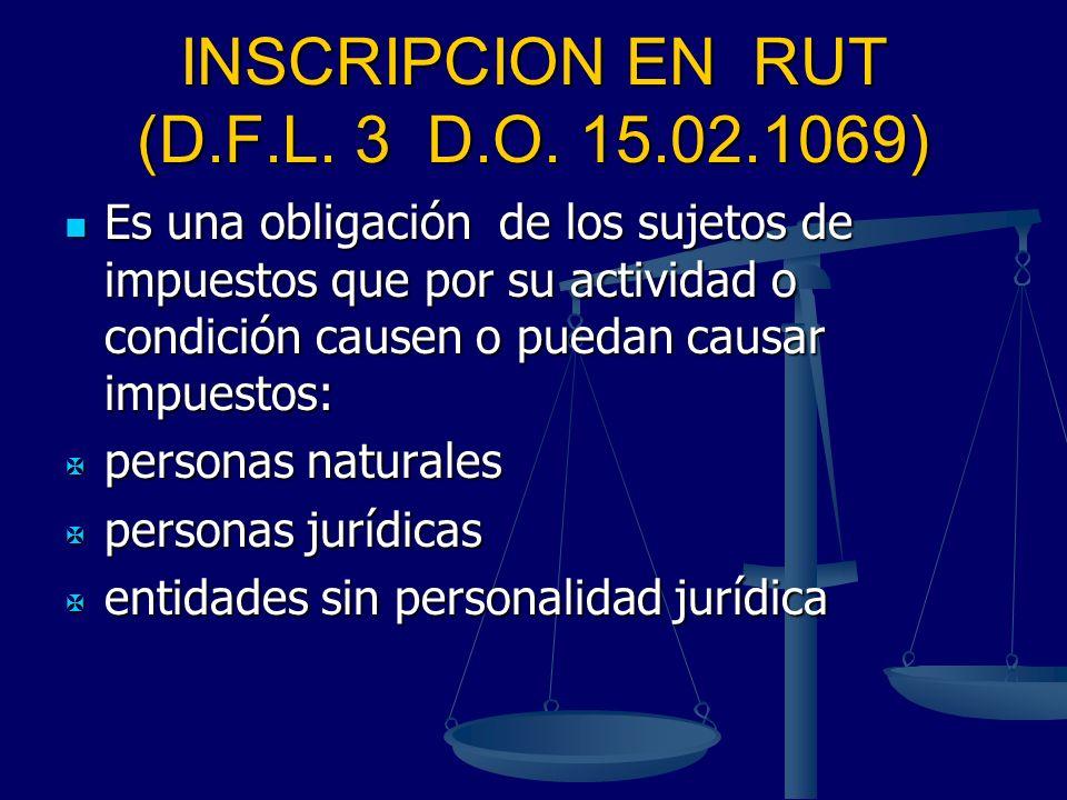 INSCRIPCION EN RUT (D.F.L. 3 D.O. 15.02.1069) Es una obligación de los sujetos de impuestos que por su actividad o condición causen o puedan causar im