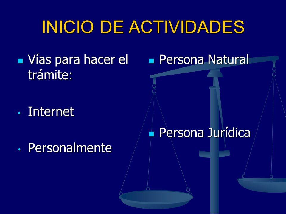 INICIO DE ACTIVIDADES Vías para hacer el trámite: Vías para hacer el trámite: Internet Internet Personalmente Personalmente Persona Natural Persona Ju