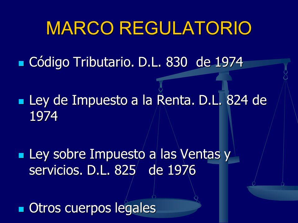 MARCO REGULATORIO Código Tributario. D.L. 830 de 1974 Código Tributario. D.L. 830 de 1974 Ley de Impuesto a la Renta. D.L. 824 de 1974 Ley de Impuesto