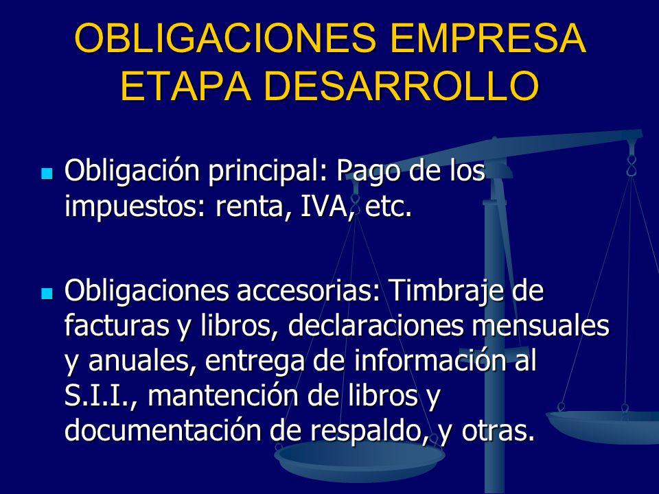 OBLIGACIONES EMPRESA ETAPA DESARROLLO Obligación principal: Pago de los impuestos: renta, IVA, etc. Obligación principal: Pago de los impuestos: renta
