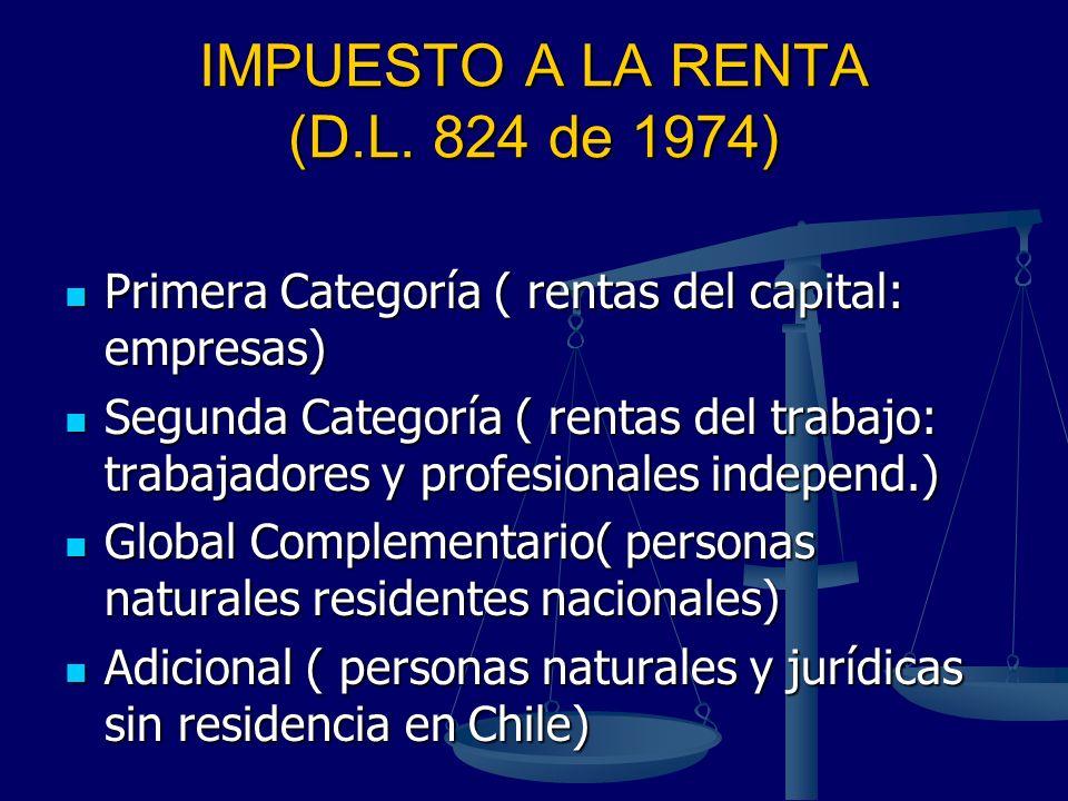 IMPUESTO A LA RENTA (D.L. 824 de 1974) Primera Categoría ( rentas del capital: empresas) Primera Categoría ( rentas del capital: empresas) Segunda Cat