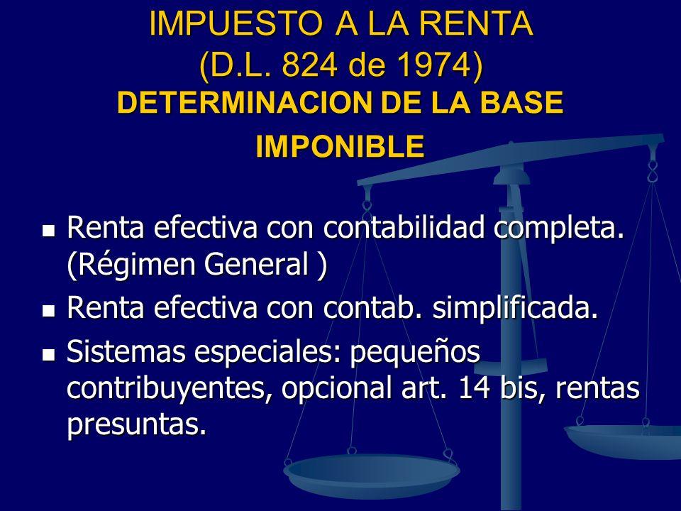 IMPUESTO A LA RENTA (D.L. 824 de 1974) DETERMINACION DE LA BASE IMPONIBLE Renta efectiva con contabilidad completa. (Régimen General ) Renta efectiva