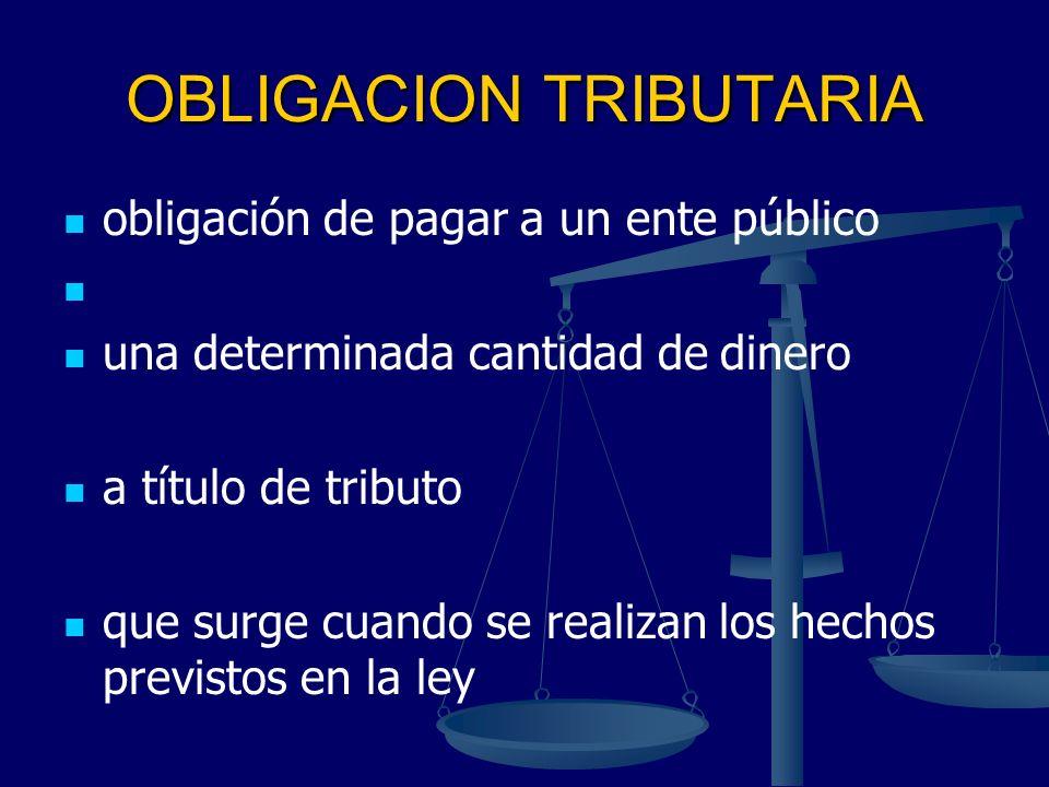 OBLIGACION TRIBUTARIA obligación de pagar a un ente público una determinada cantidad de dinero a título de tributo que surge cuando se realizan los he