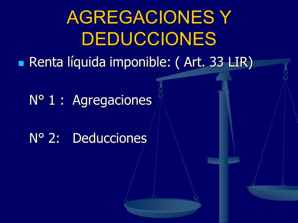 AGREGACIONES Y DEDUCCIONES Renta líquida imponible: ( Art. 33 LIR) Renta líquida imponible: ( Art. 33 LIR) N° 1 : Agregaciones N° 1 : Agregaciones N°