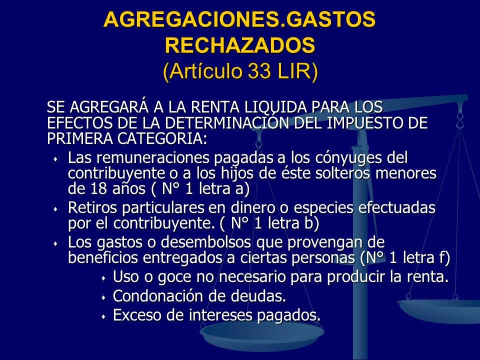 AGREGACIONES.GASTOS RECHAZADOS (Artículo 33 LIR) SE AGREGARÁ A LA RENTA LIQUIDA PARA LOS EFECTOS DE LA DETERMINACIÓN DEL IMPUESTO DE PRIMERA CATEGORIA