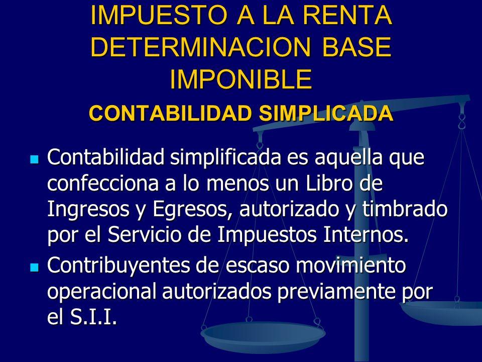 IMPUESTO A LA RENTA DETERMINACION BASE IMPONIBLE CONTABILIDAD SIMPLICADA Contabilidad simplificada es aquella que confecciona a lo menos un Libro de I