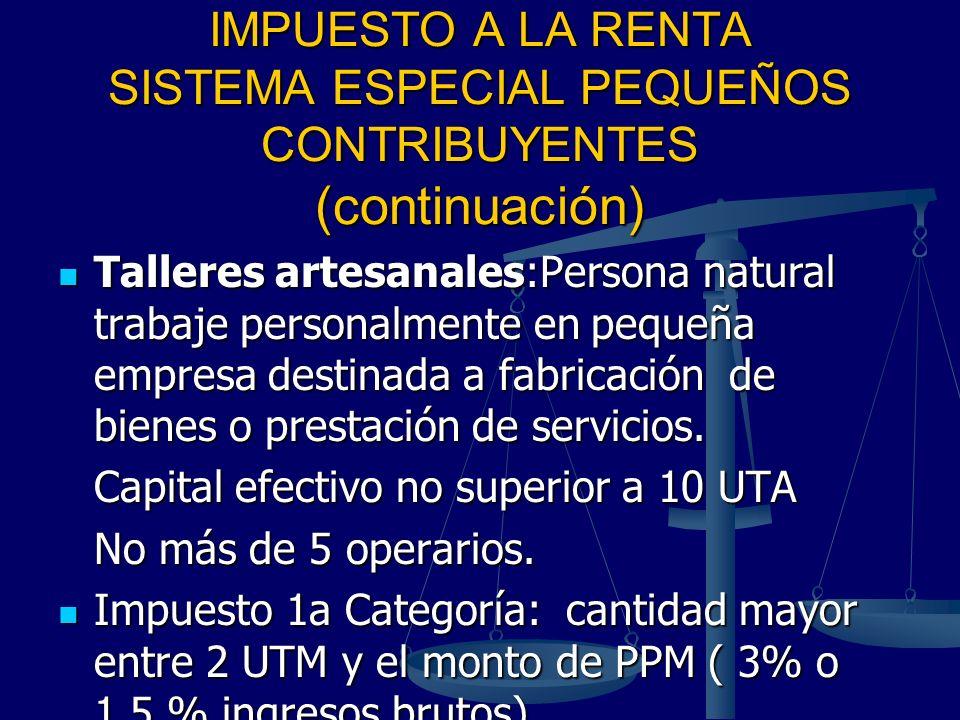 IMPUESTO A LA RENTA SISTEMA ESPECIAL PEQUEÑOS CONTRIBUYENTES (continuación) Talleres artesanales:Persona natural trabaje personalmente en pequeña empr