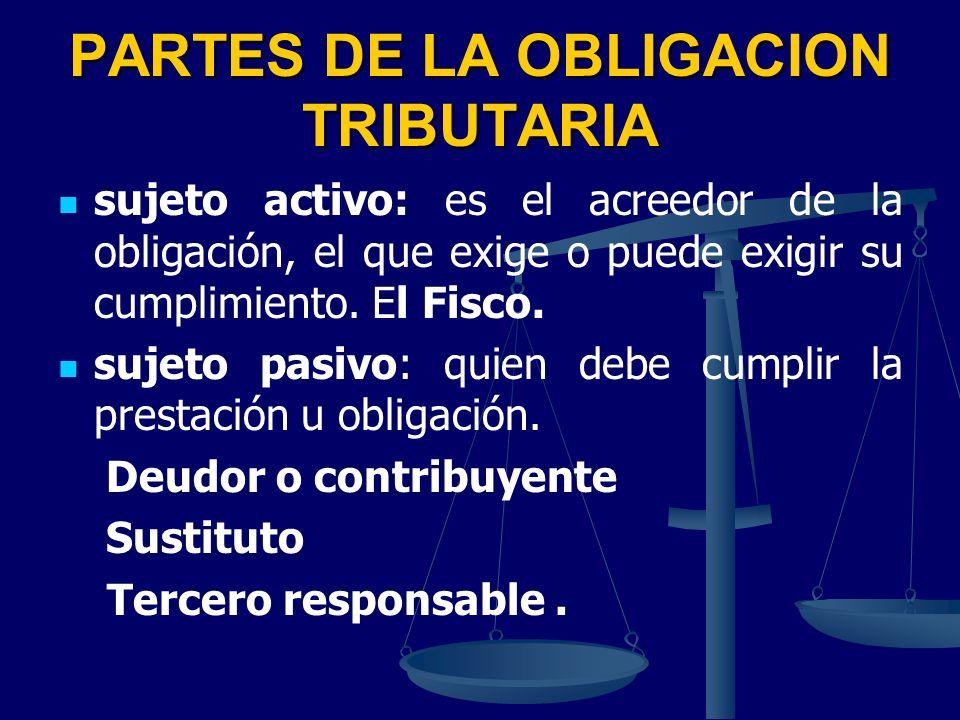 PARTES DE LA OBLIGACION TRIBUTARIA sujeto activo: es el acreedor de la obligación, el que exige o puede exigir su cumplimiento. El Fisco. sujeto pasiv