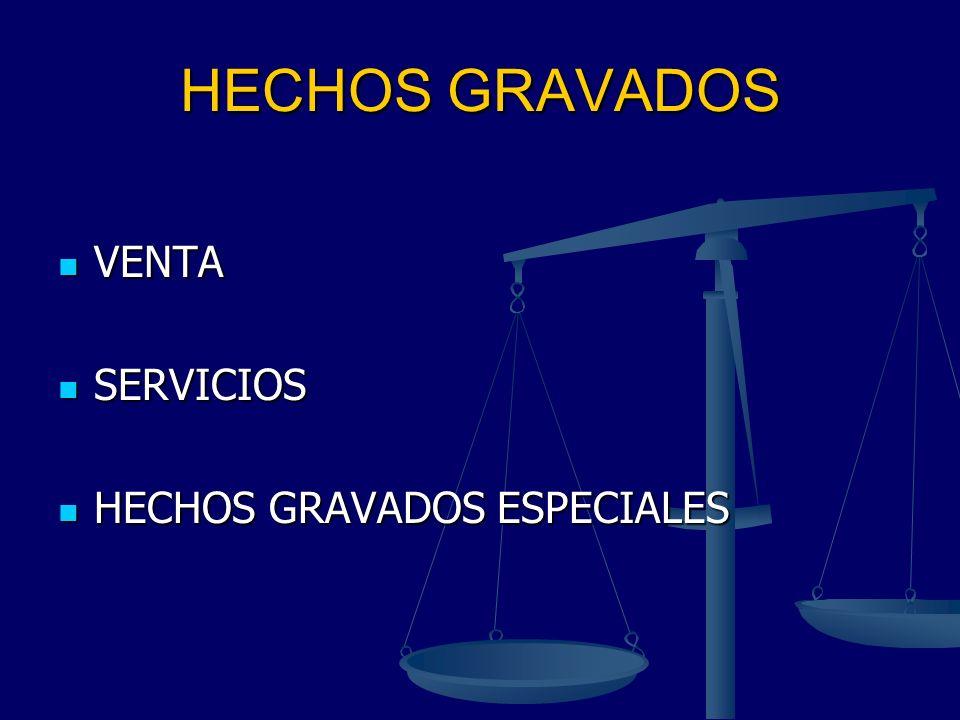 HECHOS GRAVADOS VENTA VENTA SERVICIOS SERVICIOS HECHOS GRAVADOS ESPECIALES HECHOS GRAVADOS ESPECIALES