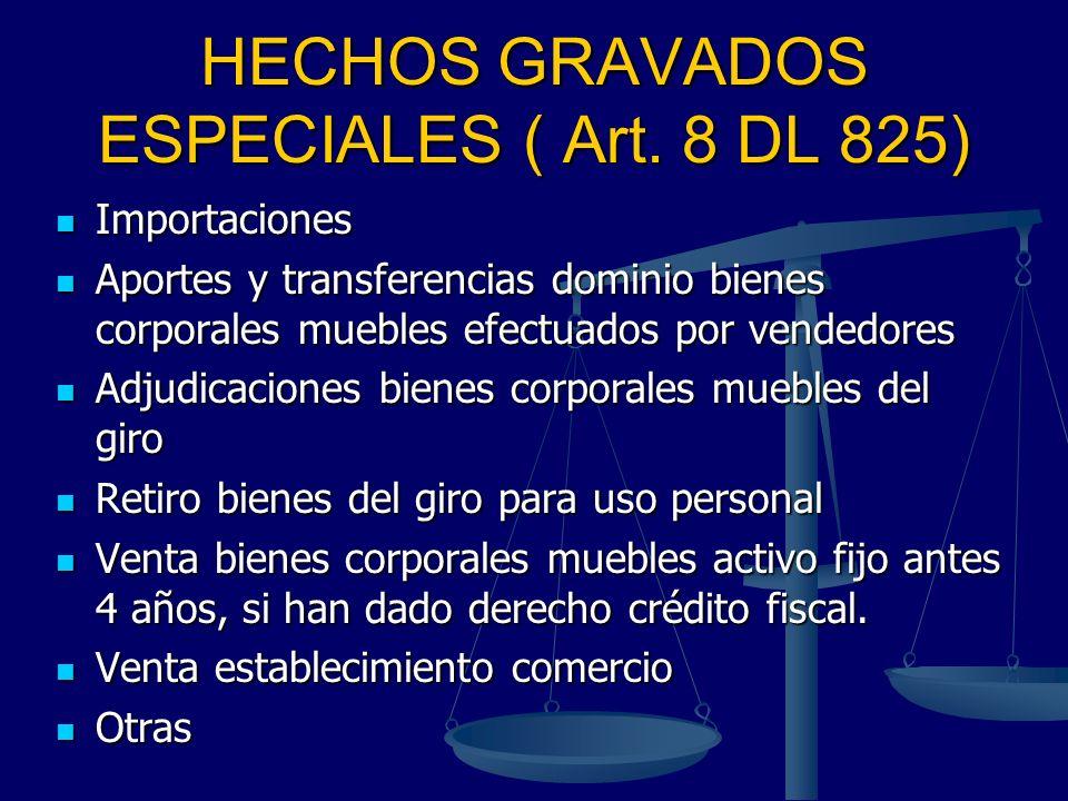 HECHOS GRAVADOS ESPECIALES ( Art. 8 DL 825) Importaciones Importaciones Aportes y transferencias dominio bienes corporales muebles efectuados por vend