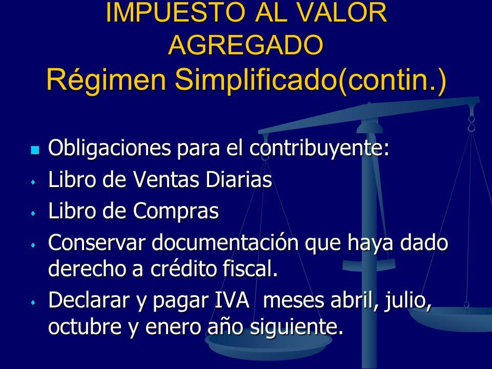 IMPUESTO AL VALOR AGREGADO Régimen Simplificado(contin.) Obligaciones para el contribuyente: Obligaciones para el contribuyente: Libro de Ventas Diari