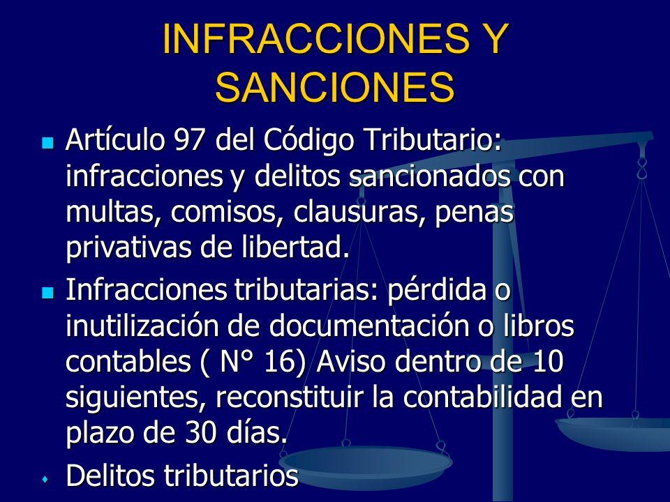 INFRACCIONES Y SANCIONES Artículo 97 del Código Tributario: infracciones y delitos sancionados con multas, comisos, clausuras, penas privativas de lib