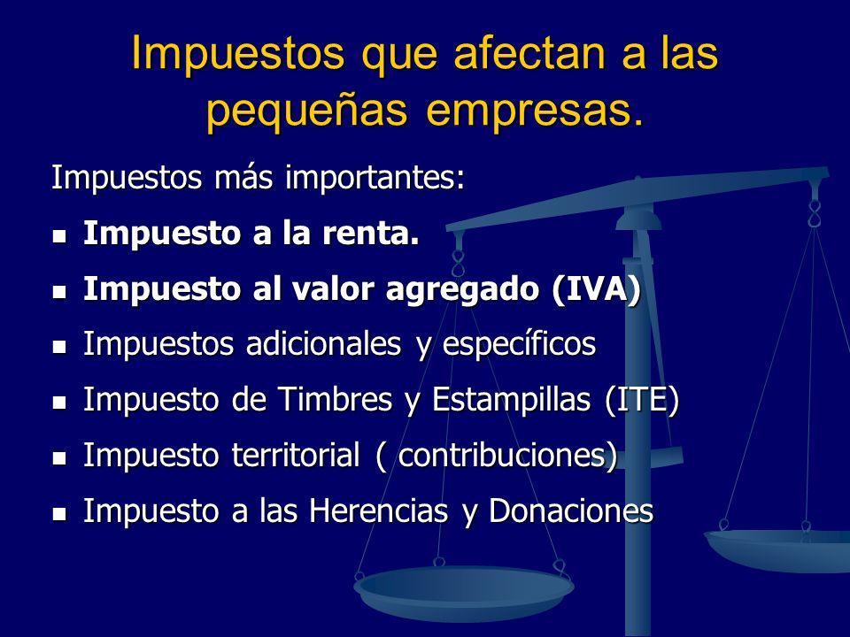 Impuestos que afectan a las pequeñas empresas. Impuestos más importantes: Impuesto a la renta. Impuesto a la renta. Impuesto al valor agregado (IVA) I