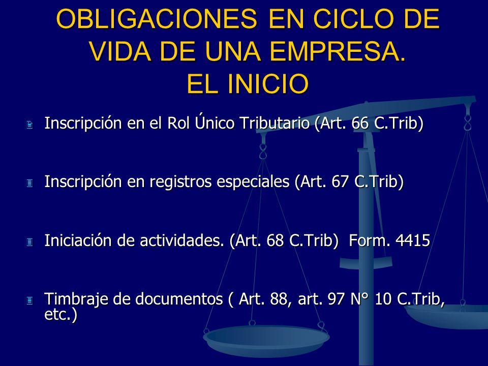 OBLIGACIONES EN CICLO DE VIDA DE UNA EMPRESA. EL INICIO Inscripción en el Rol Único Tributario (Art. 66 C.Trib) Inscripción en el Rol Único Tributario