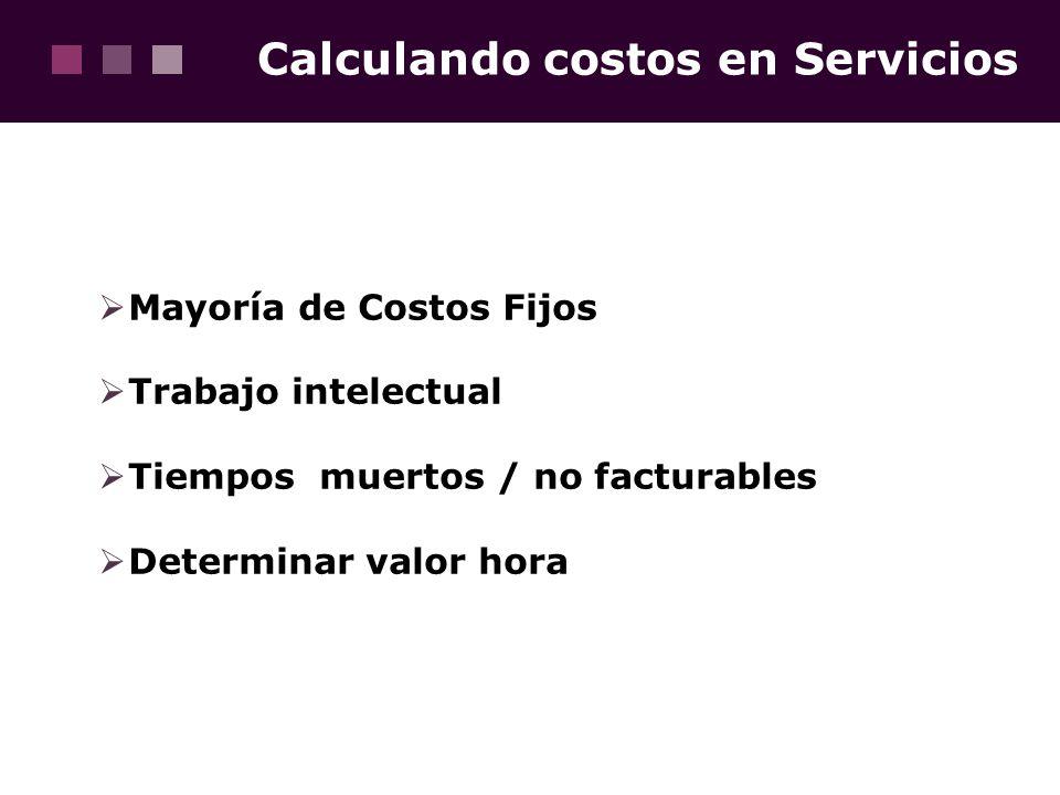 Calculando costos en Servicios Mayoría de Costos Fijos Trabajo intelectual Tiempos muertos / no facturables Determinar valor hora