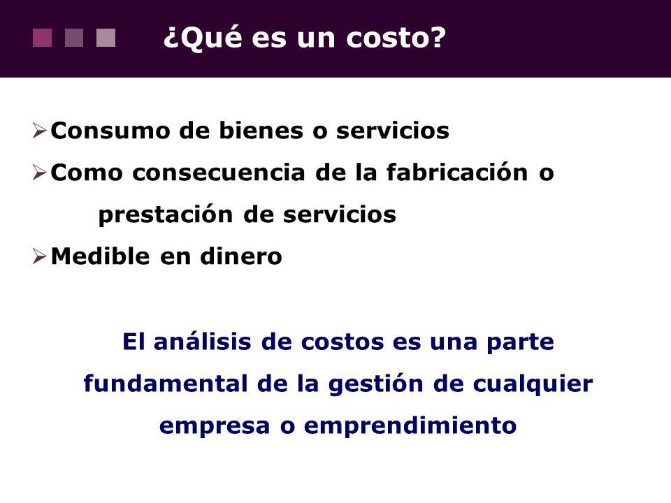 ¿Qué es un costo? Consumo de bienes o servicios Como consecuencia de la fabricación o prestación de servicios Medible en dinero El análisis de costos