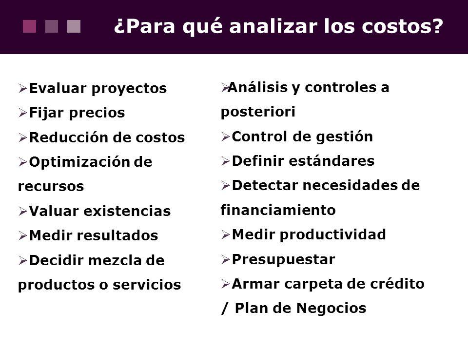 ¿Para qué analizar los costos? Evaluar proyectos Fijar precios Reducción de costos Optimización de recursos Valuar existencias Medir resultados Decidi