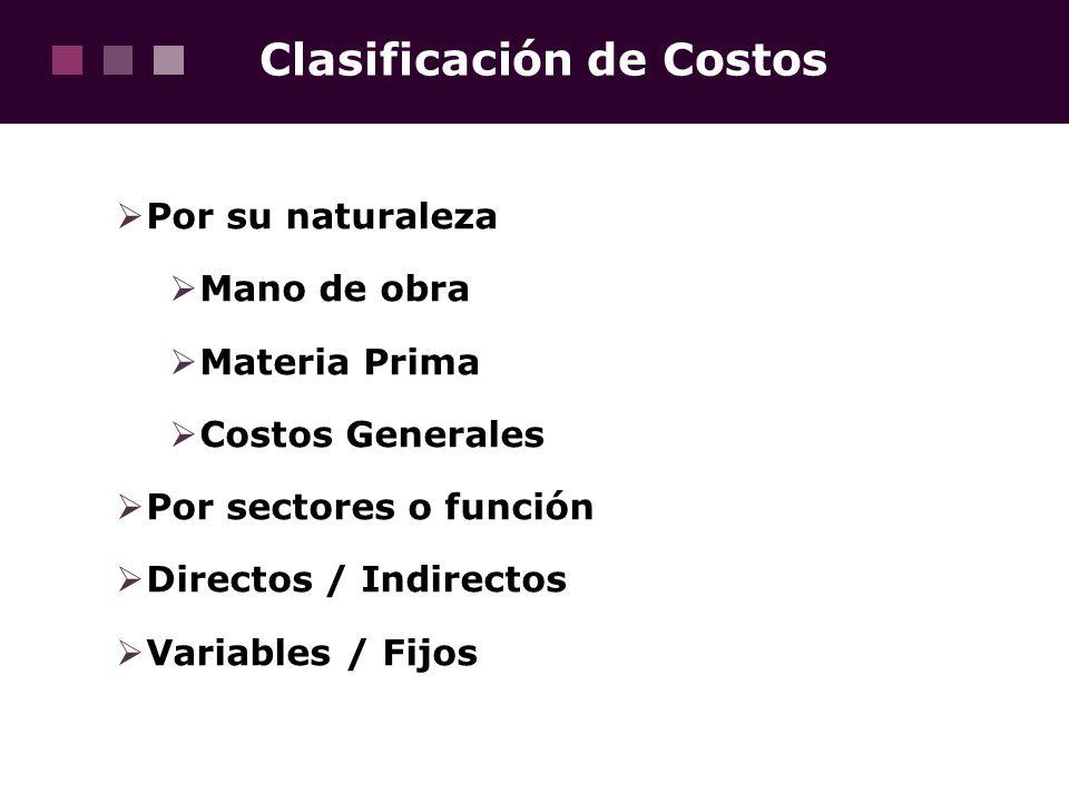 Clasificación de Costos Por su naturaleza Mano de obra Materia Prima Costos Generales Por sectores o función Directos / Indirectos Variables / Fijos