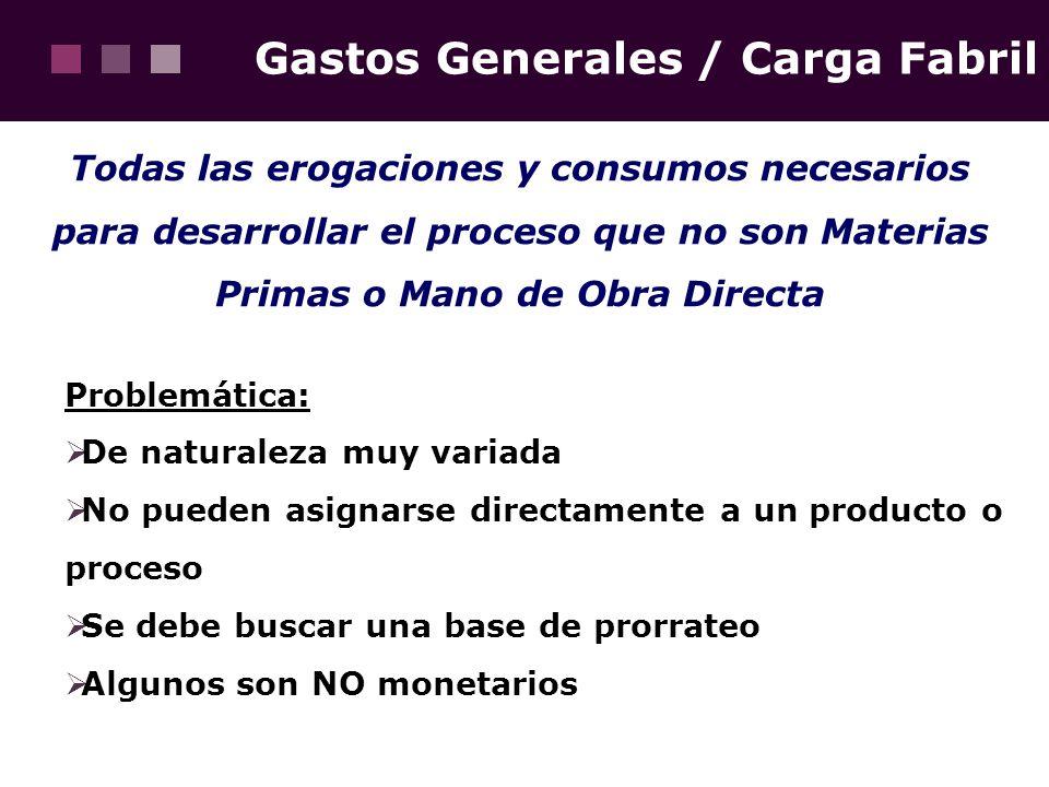 Gastos Generales / Carga Fabril Todas las erogaciones y consumos necesarios para desarrollar el proceso que no son Materias Primas o Mano de Obra Dire