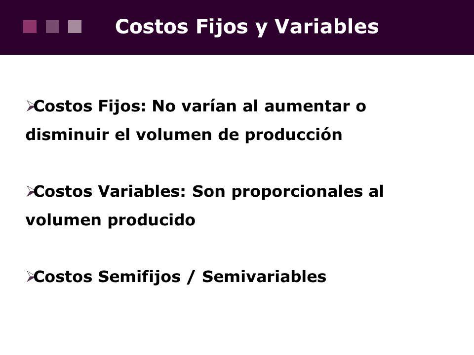 Costos Fijos y Variables Costos Fijos: No varían al aumentar o disminuir el volumen de producción Costos Variables: Son proporcionales al volumen prod