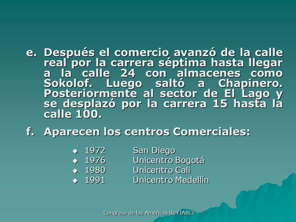 Congreso de las Américas de FIABCI g.Posteriormente los centros comerciales pasaron a ser el eje de los Multicentros (centros urbanos autosuficientes dentro ó fuera de la ciudad).