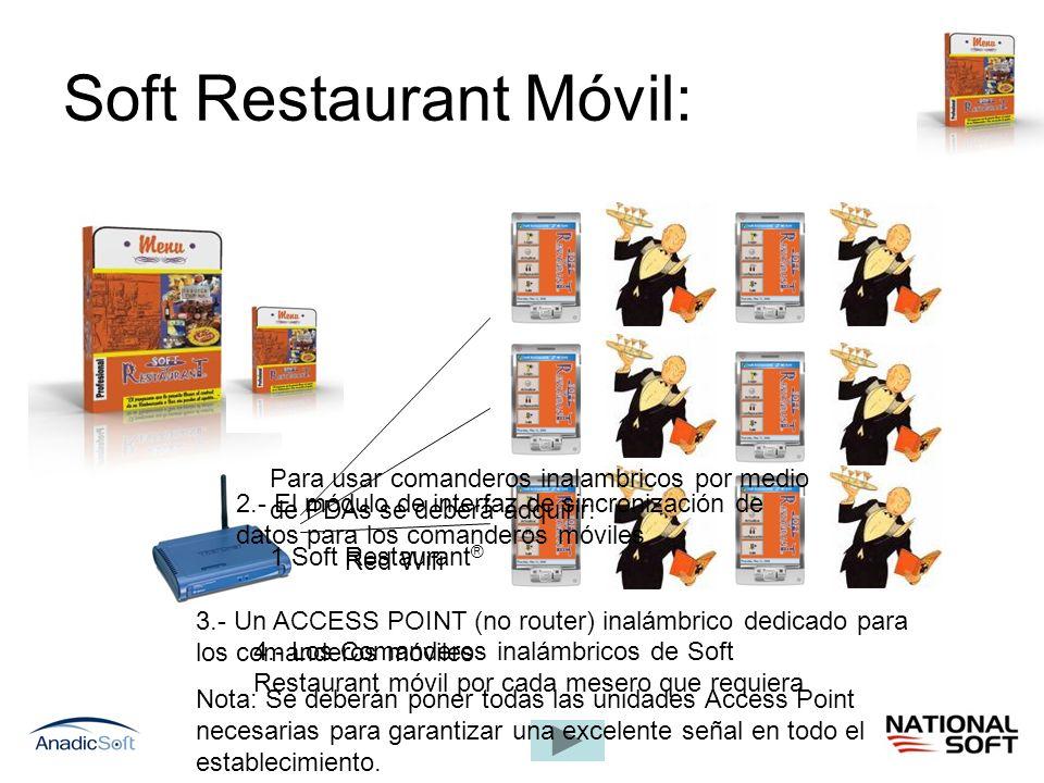 Soft Restaurant Móvil: Red Wifi Para usar comanderos inalambricos por medio de PDAs se deberá adquirir: 1 Soft Restaurant ® 2.- El módulo de interfaz
