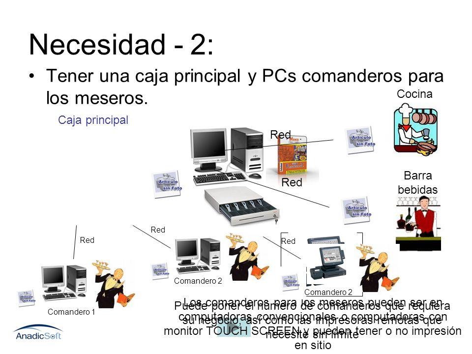 Necesidad - 2: Tener una caja principal y PCs comanderos para los meseros. Red Cocina Barra bebidas Comandero 1 Comandero 2 Red Los comanderos para lo