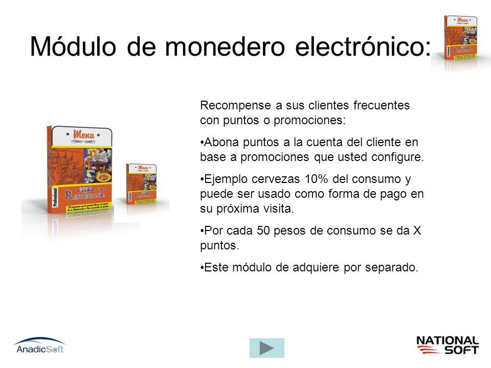 Módulo de monedero electrónico: Recompense a sus clientes frecuentes con puntos o promociones: Abona puntos a la cuenta del cliente en base a promocio