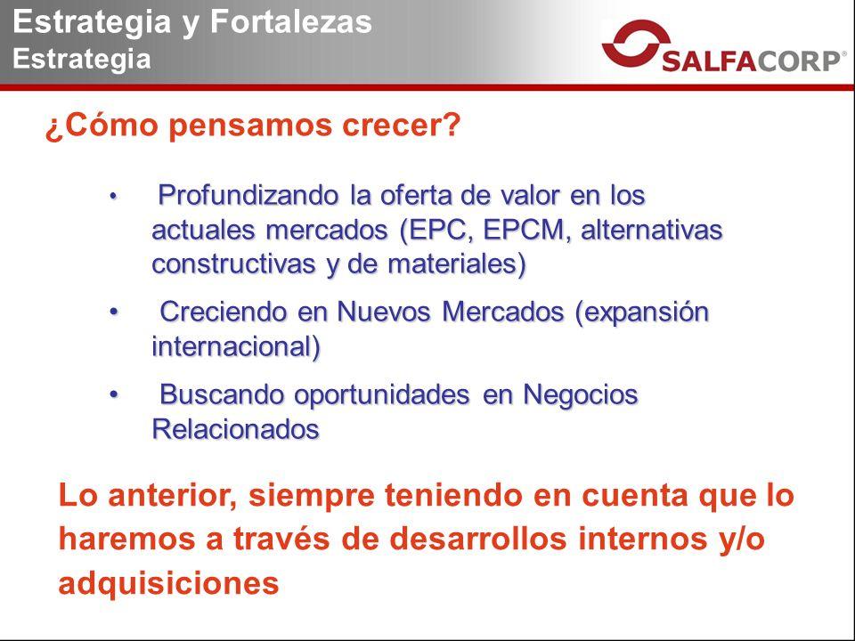Profundizando la oferta de valor en los actuales mercados (EPC, EPCM, alternativas constructivas y de materiales) Profundizando la oferta de valor en