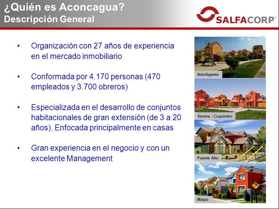 Organización con 27 años de experiencia en el mercado inmobiliario Conformada por 4.170 personas (470 empleados y 3.700 obreros) Especializada en el desarrollo de conjuntos habitacionales de gran extensión (de 3 a 20 años).