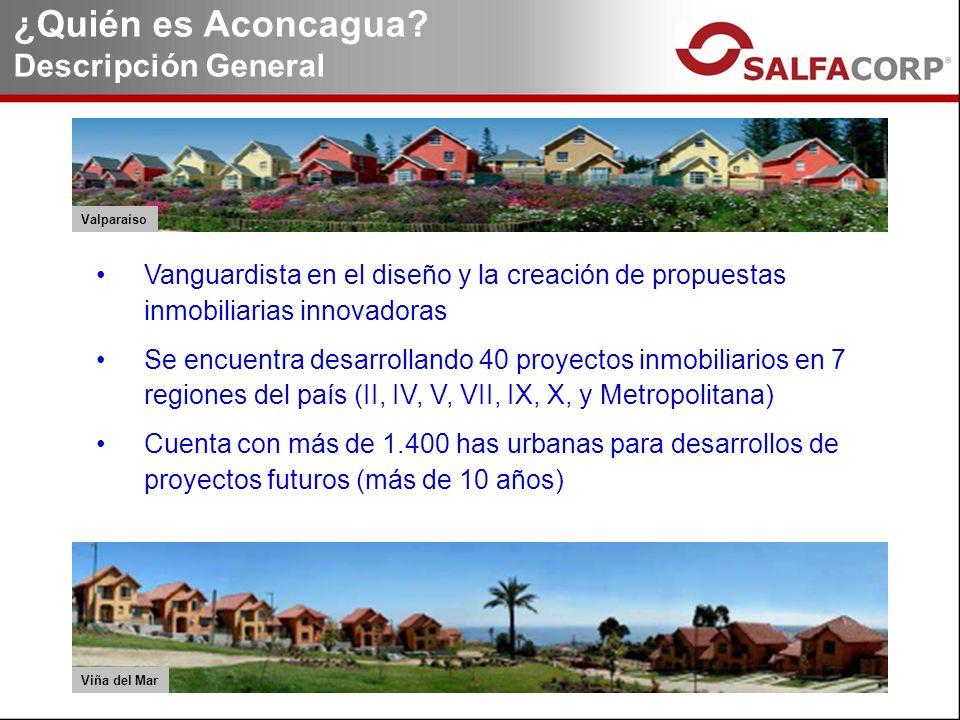 Vanguardista en el diseño y la creación de propuestas inmobiliarias innovadoras Se encuentra desarrollando 40 proyectos inmobiliarios en 7 regiones del país (II, IV, V, VII, IX, X, y Metropolitana) Cuenta con más de 1.400 has urbanas para desarrollos de proyectos futuros (más de 10 años) ¿Quién es Aconcagua.