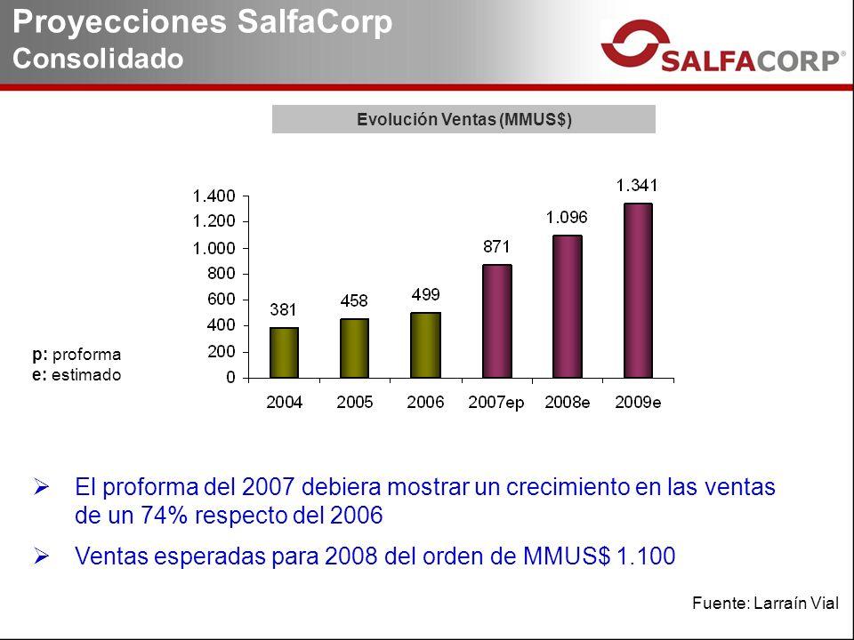 Proyecciones SalfaCorp Consolidado p: proforma e: estimado El proforma del 2007 debiera mostrar un crecimiento en las ventas de un 74% respecto del 2006 Ventas esperadas para 2008 del orden de MMUS$ 1.100 Evolución Ventas (MMUS$) Fuente: Larraín Vial