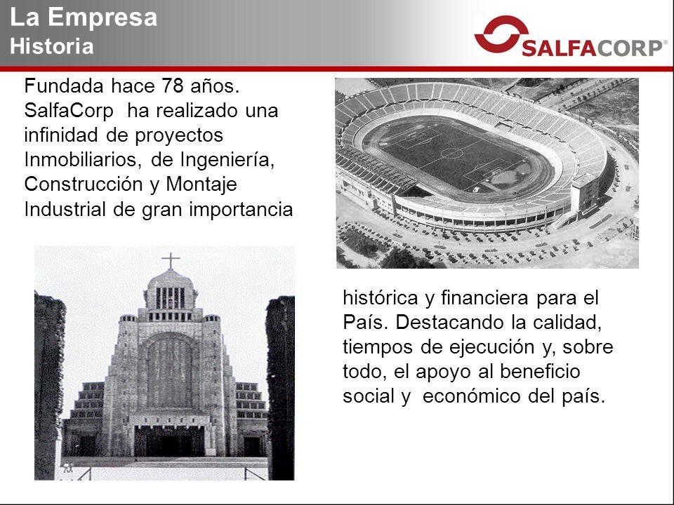 Fundada hace 78 años. SalfaCorp ha realizado una infinidad de proyectos Inmobiliarios, de Ingeniería, Construcción y Montaje Industrial de gran import