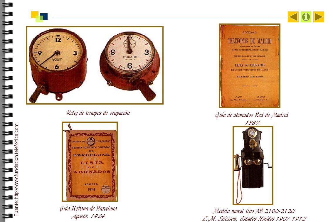 Reloj de tiempos de ocupación Guía de abonados Red de Madrid 1889 Guía Urbana de Barcelona Agosto, 1924 Modelo mural tipo AB 2100-2120 L.