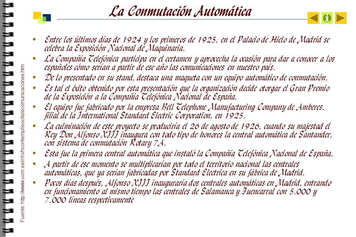 La Conmutación Automática Entre los últimos días de 1924 y los primeros de 1925, en el Palacio de Hielo de Madrid se celebra la Exposición Nacional de Maquinaria.