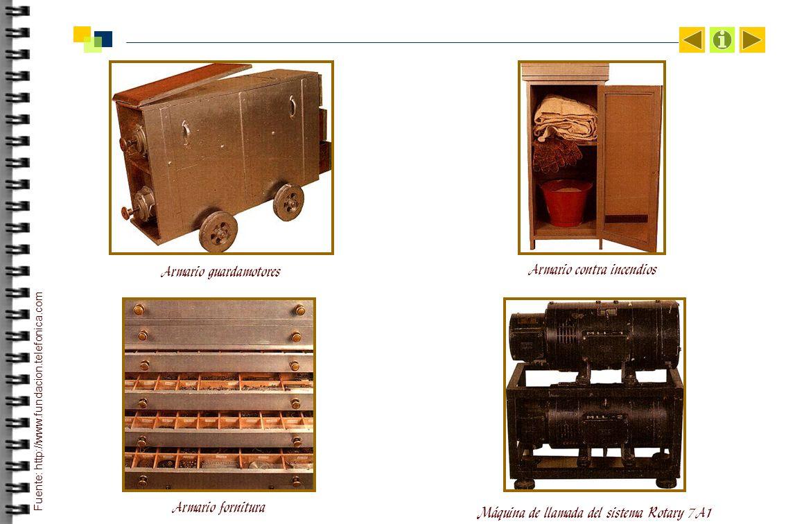 Armario guardamotores Armario contra incendios Armario fornitura Máquina de llamada del sistema Rotary 7A1 Fuente: http://www.fundacion.telefonica.com