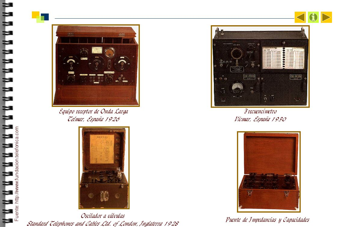 Equipo receptor de Onda Larga Telmar, España 1926 Frecuencímetro Vicmar, España 1930 Oscilador a válvulas Standard Telephones and Cables Ltd.