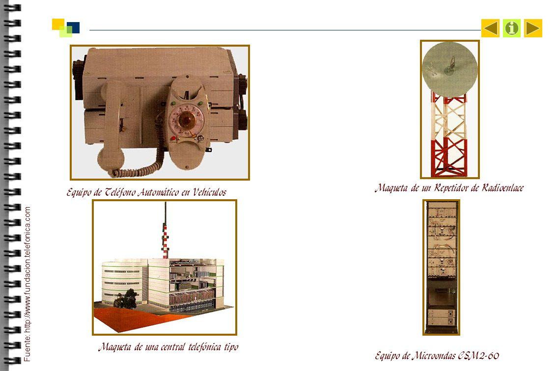 Equipo de Teléfono Automático en Vehículos Equipo de Microondas CSM2-60 Maqueta de una central telefónica tipo Fuente: http://www.fundacion.telefonica.com Maqueta de un Repetidor de Radioenlace