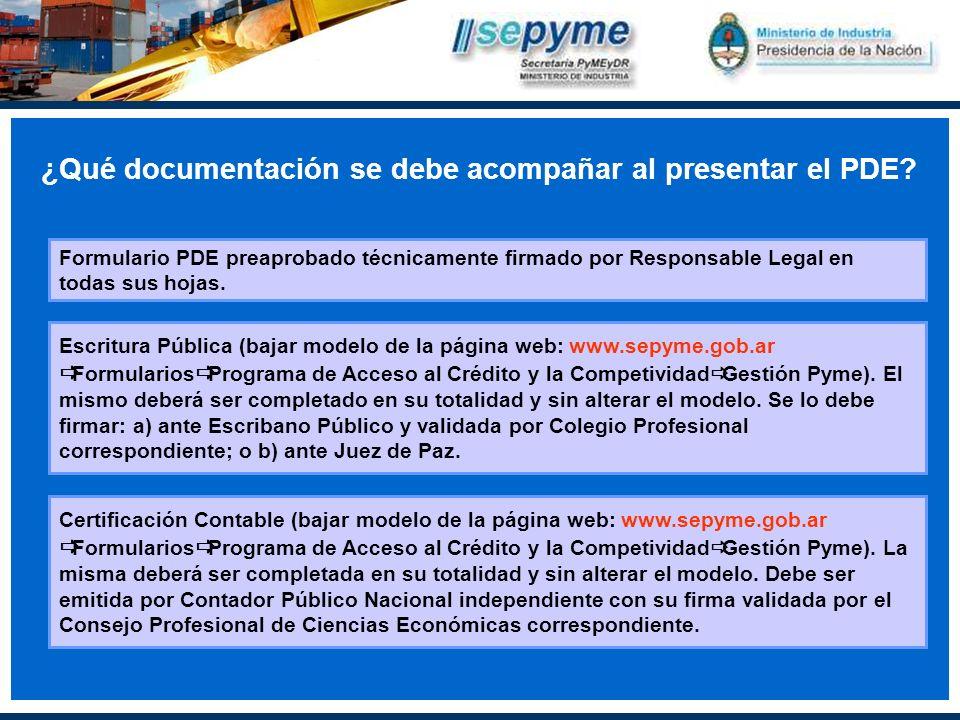 ¿Qué documentación se debe acompañar al presentar el PDE.