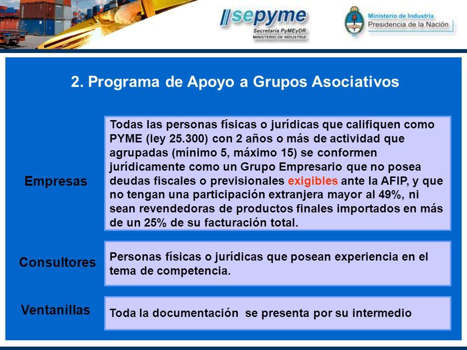 2. Programa de Apoyo a Grupos Asociativos Empresas Todas las personas físicas o jurídicas que califiquen como PYME (ley 25.300) con 2 años o más de ac