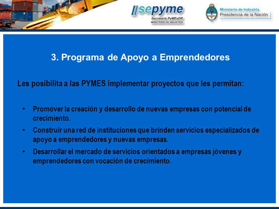 3. Programa de Apoyo a Emprendedores Les posibilita a las PYMES implementar proyectos que les permitan: Promover la creación y desarrollo de nuevas em