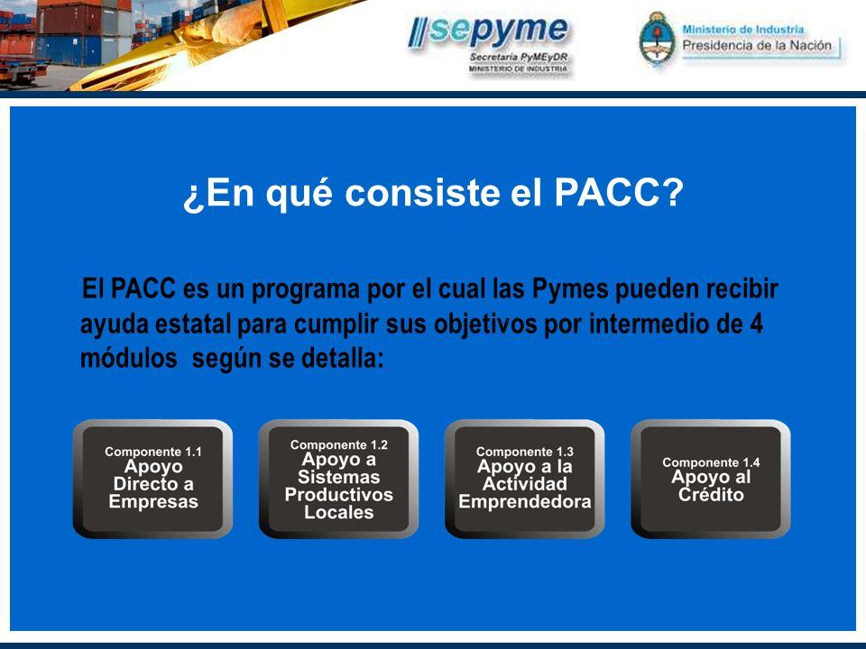 El PACC es un programa por el cual las Pymes pueden recibir ayuda estatal para cumplir sus objetivos por intermedio de 4 módulos según se detalla: ¿En qué consiste el PACC?