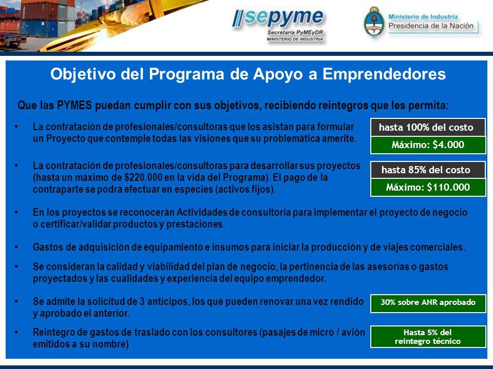 Objetivo del Programa de Apoyo a Emprendedores La contratación de profesionales/consultoras que los asistan para formular un Proyecto que contemple todas las visiones que su problemática amerite.