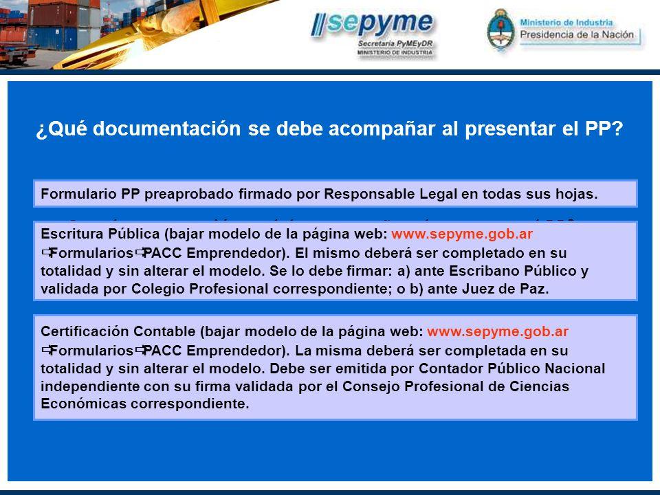 ¿Que documentación se debe acompañar al presentar el PP.