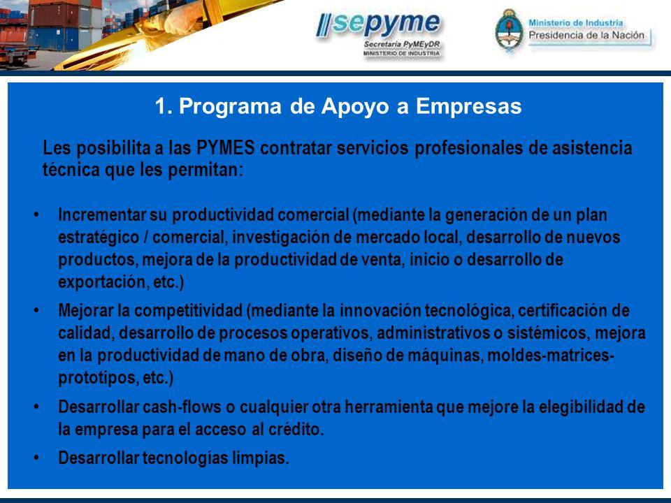 1. Programa de Apoyo a Empresas Les posibilita a las PYMES contratar servicios profesionales de asistencia técnica que les permitan: Incrementar su pr
